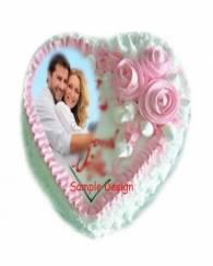Butterscotch Heart Shape Photo Cake
