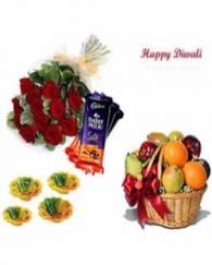 BASKET Of  DAIRY MILK SILK, ROSE BUNCH AND DIYAS and Fresh Fruits