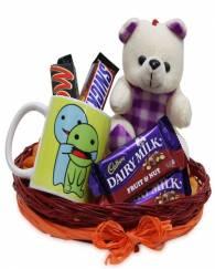 Teddy Chocolates Basket