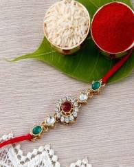 Beautifully Designed Stud And Gemstone Premium Rakhi