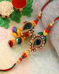 Alluring Lumba And Rakhi Bhaiya Bhabhi Set Crafted in Peacock Design