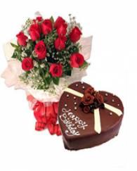 Rose with Heart Shape Cake